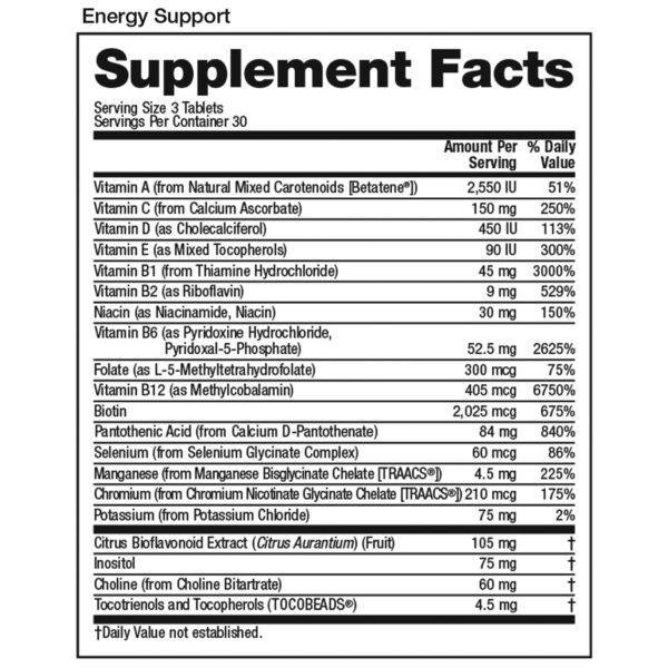 2019 VitaMedica Energy Support Supp Facts Square