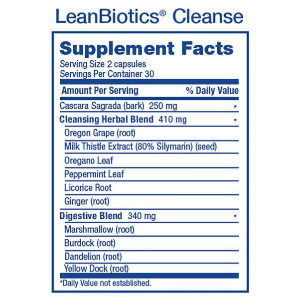 2018 LeanBiotics Cleanse Supp Facts Square