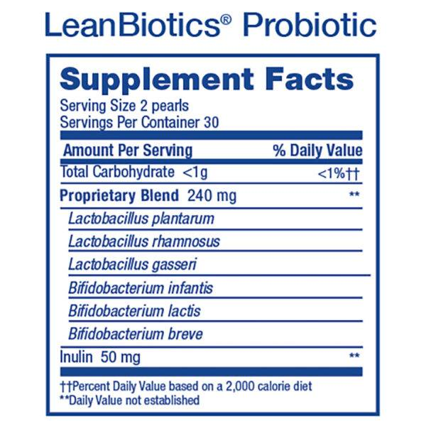 2018 LeanBiotics Probiotic Supp Facts Square